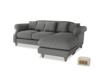 Large right hand Sloucher Chaise Sofa in French Grey brushed cotton