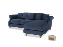 Large right hand Sloucher Chaise Sofa in Navy blue brushed cotton