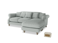 Large right hand Sloucher Chaise Sofa in French blue brushed cotton
