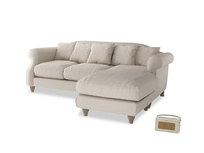 Large right hand Sloucher Chaise Sofa in Buff brushed cotton