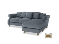 Large right hand Sloucher Chaise Sofa in Blue Storm washed cotton linen
