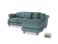 Large right hand Sloucher Chaise Sofa in Marine washed cotton linen