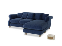 Large right hand Sloucher Chaise Sofa in Ink Blue wool