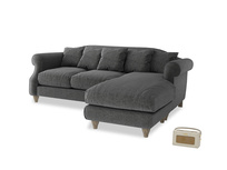 Large right hand Sloucher Chaise Sofa in Shadow Grey wool