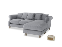 Large right hand Sloucher Chaise Sofa in Dove grey wool