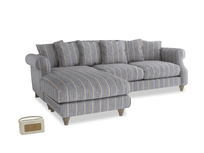 XL Left Hand  Sloucher Chaise Sofa in Brittany Blue french stripe