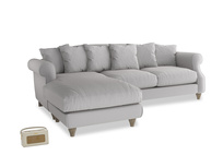XL Left Hand  Sloucher Chaise Sofa in Flint brushed cotton