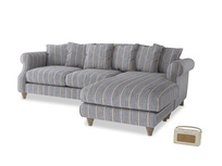 XL Right Hand  Sloucher Chaise Sofa in Brittany Blue french stripe