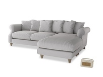 XL Right Hand  Sloucher Chaise Sofa in Flint brushed cotton