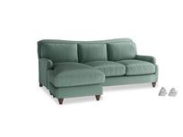 Large left hand Pavlova Chaise Sofa in Sea blue vintage velvet