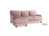 Large left hand Pavlova Chaise Sofa in Chalky Pink vintage velvet