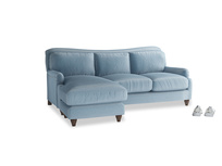 Large left hand Pavlova Chaise Sofa in Chalky blue vintage velvet