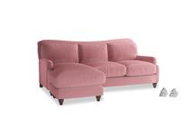 Large left hand Pavlova Chaise Sofa in Dusty Rose clever velvet
