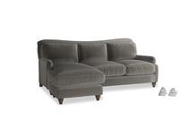 Large left hand Pavlova Chaise Sofa in Slate clever velvet