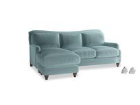 Large left hand Pavlova Chaise Sofa in Lagoon clever velvet