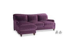 Large left hand Pavlova Chaise Sofa in Grape clever velvet