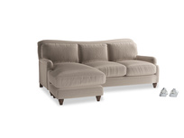 Large left hand Pavlova Chaise Sofa in Fawn clever velvet