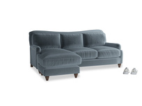Large left hand Pavlova Chaise Sofa in Mermaid plush velvet