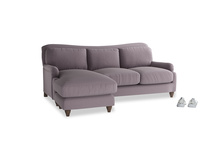 Large left hand Pavlova Chaise Sofa in Lavender brushed cotton