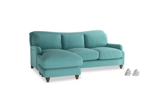 Large left hand Pavlova Chaise Sofa in Peacock brushed cotton