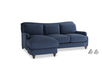 Large left hand Pavlova Chaise Sofa in Navy blue brushed cotton