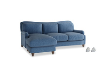 Large left hand Pavlova Chaise Sofa in Hague Blue cotton mix