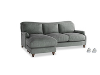 Large left hand Pavlova Chaise Sofa in Faded Charcoal beaten leather