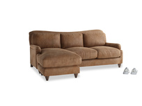 Large left hand Pavlova Chaise Sofa in Walnut beaten leather