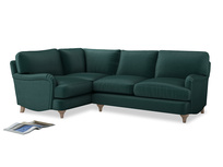 Large Left Hand Jonesy Corner Sofa in Timeless teal vintage velvet