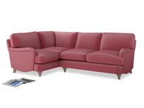 Large Left Hand Jonesy Corner Sofa in Blushed pink vintage velvet