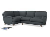 Large Left Hand Jonesy Corner Sofa in Meteor grey clever linen