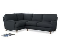 Large Left Hand Jonesy Corner Sofa in Lava grey clever linen