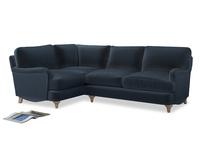 Large Left Hand Jonesy Corner Sofa in Liquorice Blue clever velvet