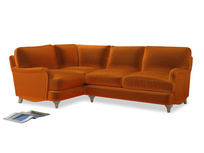 Large Left Hand Jonesy Corner Sofa in Spiced Orange clever velvet