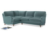 Large Left Hand Jonesy Corner Sofa in Lagoon clever velvet