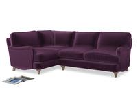 Large Left Hand Jonesy Corner Sofa in Grape clever velvet