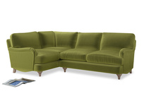 Large Left Hand Jonesy Corner Sofa in Olive plush velvet