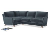 Large Left Hand Jonesy Corner Sofa in Mermaid plush velvet