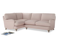 Large Left Hand Jonesy Corner Sofa in Faded Pink brushed cotton