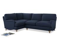 Large Left Hand Jonesy Corner Sofa in Navy blue brushed cotton