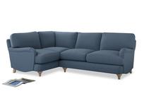 Large Left Hand Jonesy Corner Sofa in Nordic blue brushed cotton