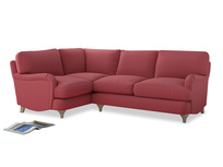 Large Left Hand Jonesy Corner Sofa in Raspberry brushed cotton