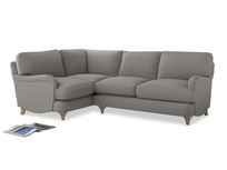 Large Left Hand Jonesy Corner Sofa in Wolf brushed cotton