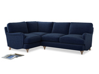 Large Left Hand Jonesy Corner Sofa in Ink Blue wool