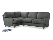 Large Left Hand Jonesy Corner Sofa in Faded Charcoal beaten leather