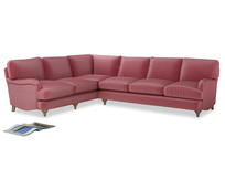 Xl Left Hand Jonesy Corner Sofa in Blushed pink vintage velvet