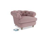 Swaggamuffin Armchair in Chalky Pink vintage velvet