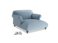 Soufflé Love Seat Chaise in Chalky blue vintage velvet