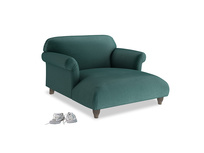 Soufflé Love Seat Chaise in Timeless teal vintage velvet