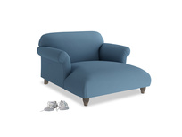 Soufflé Love Seat Chaise in Easy blue clever linen